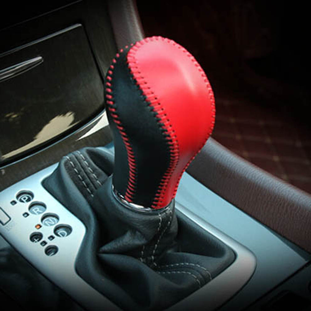 Hand-sewn leather gear shift head handle Cowhide Cover for infiniti Q50 QX50 QX70 QX80 EX FX 25 25 37 50 70 interior Accessories hand sewn leather cowhide steering wheel diy sticker cover for infiniti q50 qx50 ex35 jx qx60 q60 q70 g ex interior accessories