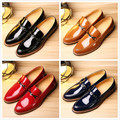 The stylist of leather shoes in spring increased thick bottom rivet shoes leisure shoes British tide pointed shiny shoes