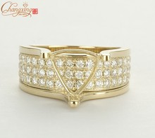 8.5×8.5mm Trillion solid 14k Gold NATURAL .91 Diamond Engagement Semi Mount Ring, Wholesale Jewelry