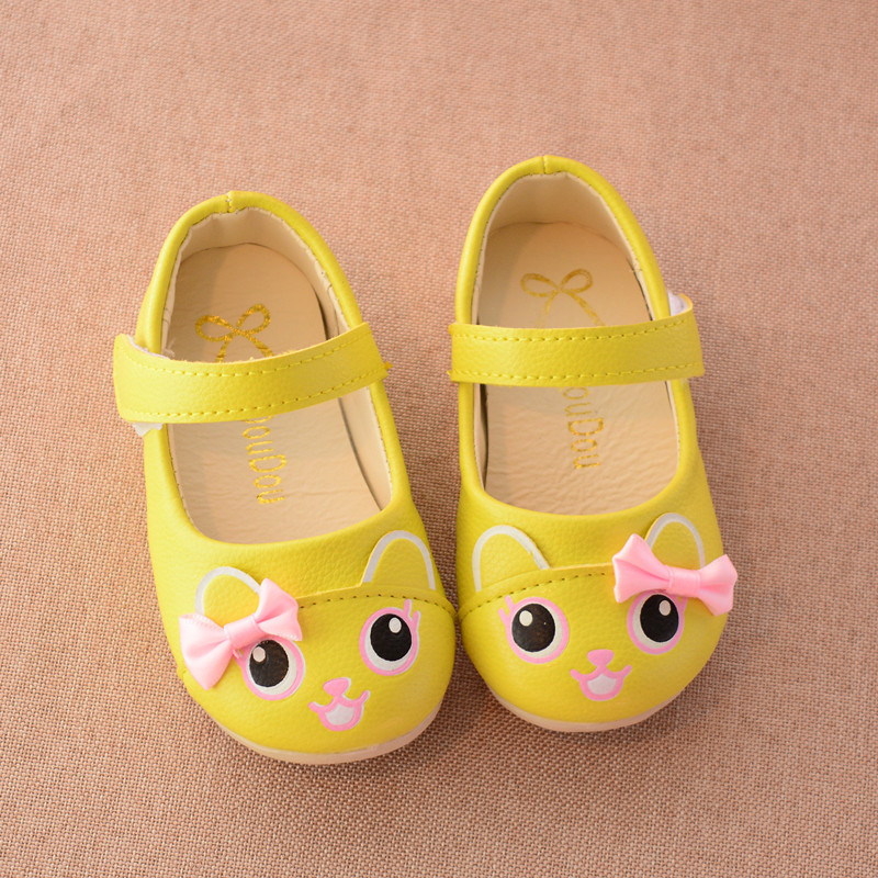 children fashion spring autumn kids casual low heel cartoon cat bow princess single loafers PU sneakers cute girls leather shoes