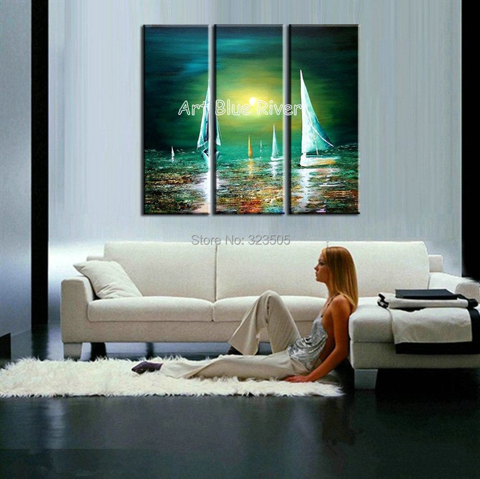 comprar unidades abstracta moderna de la lona arte de la pared pintada a mano moda barco mar pintura al leo sobre lienzo para la