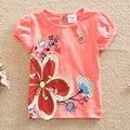 Флаг в 2015 году новые летние цветы детские & дети хлопок печатных моды девушки круглый воротник девушка футболки с короткими рукавами G6116