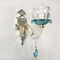 European Bedroom Bedside Lamp Living Room Sconce Wall LightsTv Wall Aisle Single Double Head Blue French Crystal Led light