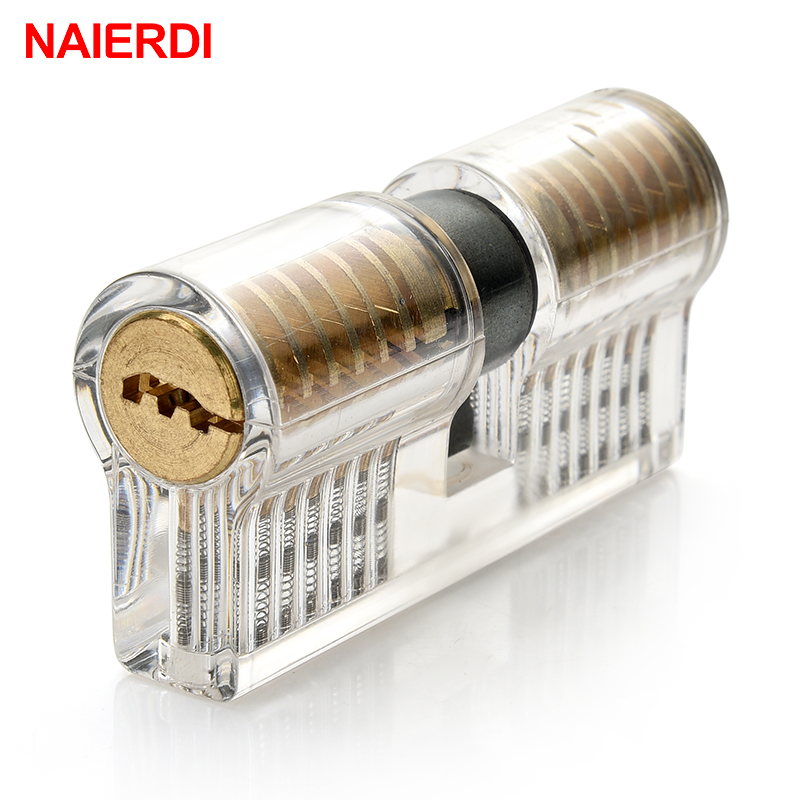 NAIERDI Practice Lock Pick Set Transparent Visible Copper Padlock Locksmith Supplies For Training Skill Hand Tools Hardware in Locksmith Supplies from Tools