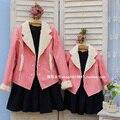 Children clothing Мать Дочь Зимнее пальто хлопка куртки розовый, 2-10 лет Ребенок девочка одежда, женщин Большого размера 4XL