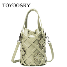 TOYOOSKY 2019 New Tide Solid Color Bucket Bag Women Hollow Out PU Leather Small Fairy Portable Casual Shoulder Messenger