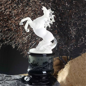 29cm LARGE # 2020  office home efficacious FENG SHUI Talisman Protection Money Drawing 3D crystal HORSE Sculpture ART statue
