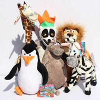 6 pcs/lot Madagascar Alex Marty Melman Gloria En Peluche Lion Zèbre Girafe Singe Pingouin Hippopotame En Peluche Peluche
