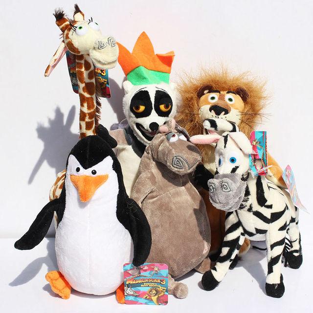 6pcs/lot Madagascar Alex Marty Melman Gloria Plush Lion Zebra Giraffe Monkey Penguin Hippo Stuffed Soft Toy