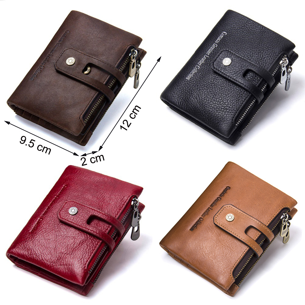 CONTACT'S Genuine Leather Men Wallet Small Men Walet Zipper&Hasp Male Portomonee Short Coin Purse Brand Perse Carteira For Rfid 5