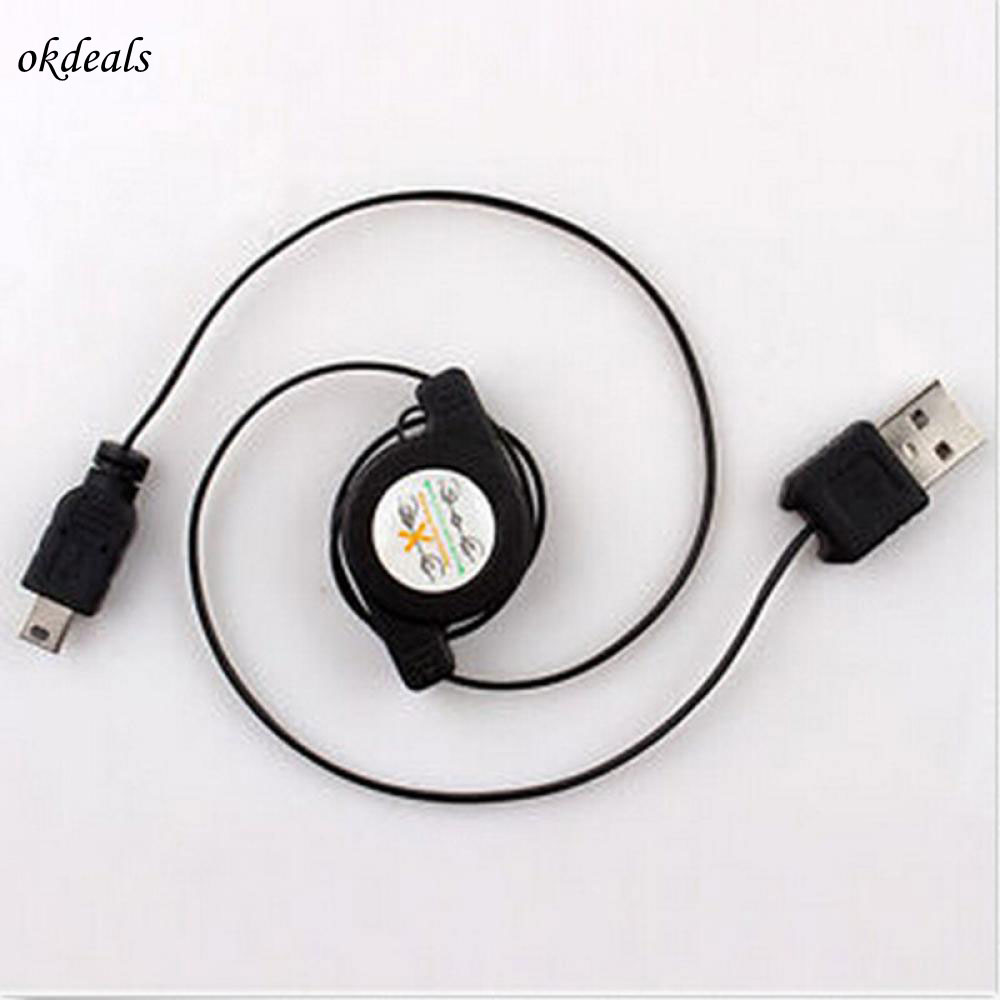 Novel Black USB A Male to MiNI USB B 5 Pin Charging Data Sync Cable Retractable Data Sync Cable Data Cables New max length retractable 2m 7ft usb 2 0 a male to mini usb b 5pin male curl coiled spring data sync charge cable cord
