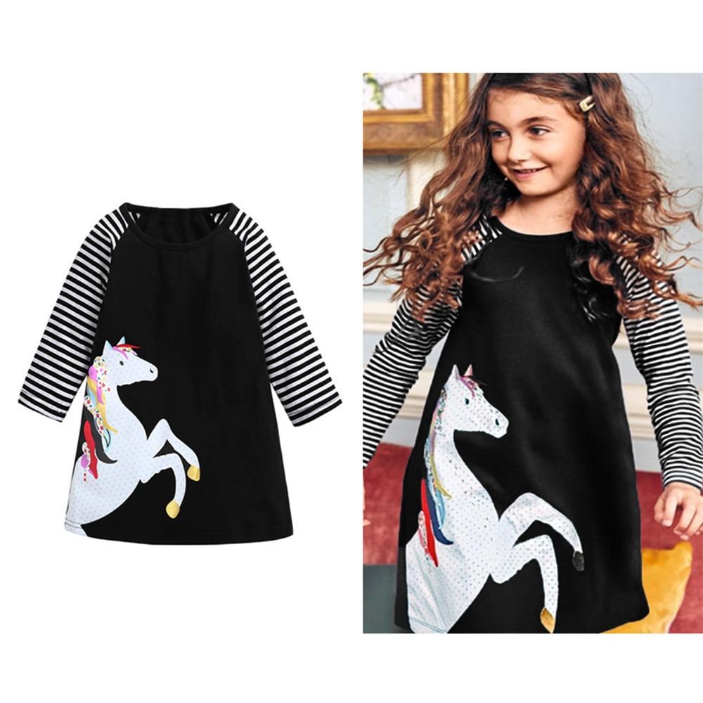 Dress for girl Toddler Kids Baby Girls Long Sleeve Striped Dresses Clothes Children Print Animal Casual Princess Dress Clothing цены онлайн