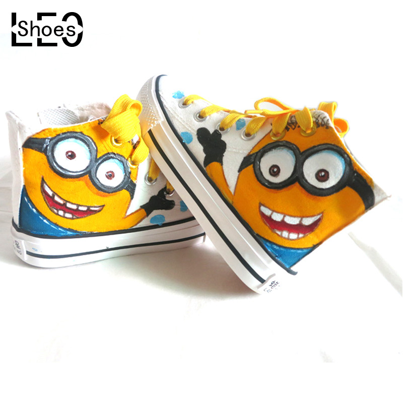 China Brand Shoes Despicable 2 Minions Children Girls Boys Kids Canvas Hi-Top Anime Minion Hand-painted Child - LEOSHOES Shenzhen Art Gifts Store store