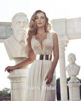 Custom Made Julie Vino Chiffon Wedding Dress Sexy High Slit Wedding Dress Pearls Beaded Wedding Gown Beach Wedding Dress