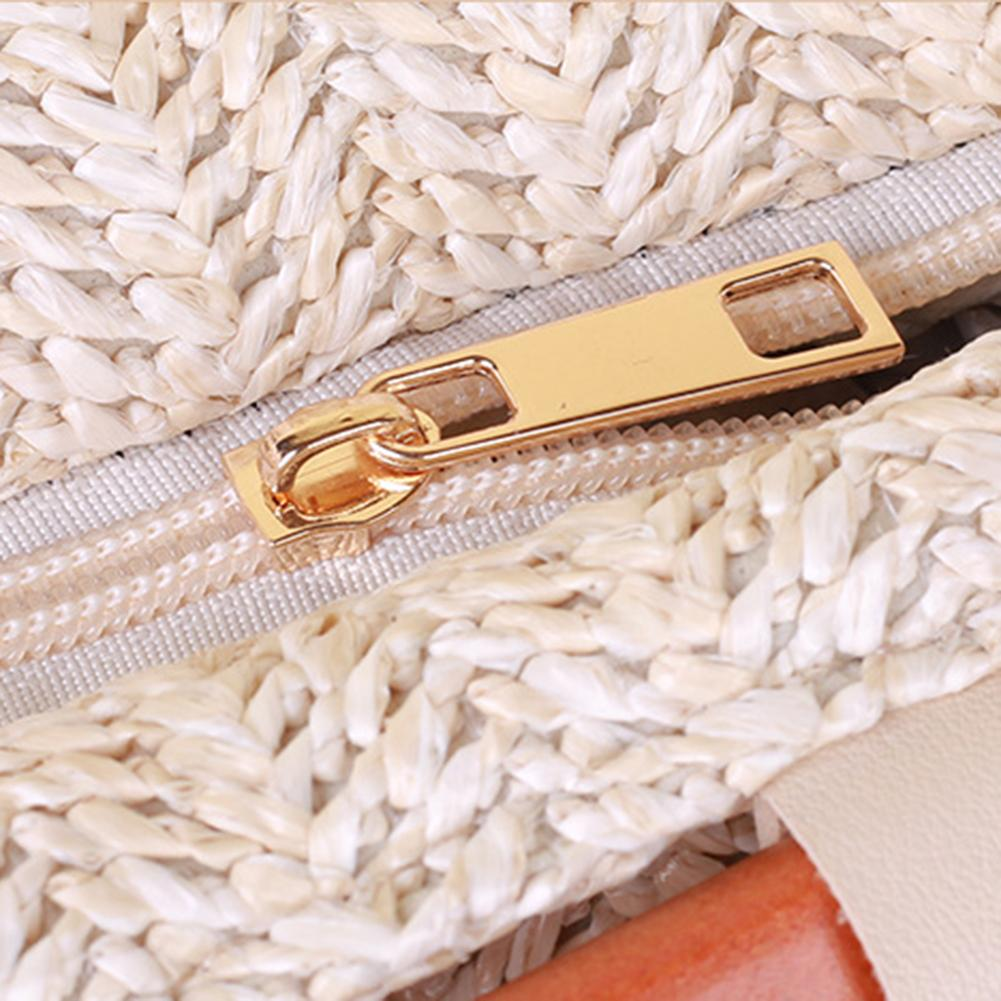 Women Straw Braided Hand Woven Handbag Casual Totes Fashion Large Capacity Tote Bag Bohemian Wood Ring Bags For Travel Beach Bag in Top Handle Bags from Luggage Bags