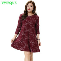 Extra Large Women's Dress Spring New Loose Thin Printing Dress Young Women Fashion Round neck Long sleeve Red wine Dress 6XL A35
