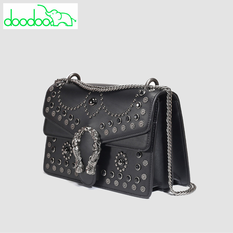 Fashion Chain Rivet Black Shoulder Bags Messenger Bags Luxury Handbags Famous Brand Women Designer Crossbody Bags Clutch Purses 2017 luxury handbags black women bags designer women s bag rivet chain messenger shoulder bags female skull clutch famous brand
