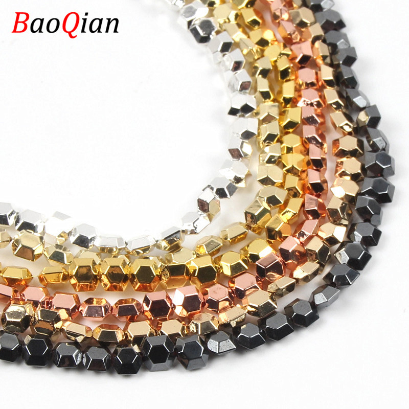Natural Rose Gold Hexagonal Hematite Beads DIY Multi-color Creative Modeling Beads Making Necklace Bracelet Jewelry Accessories(China)