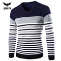 Pull Homme 2016V-Neck Sweaters Stylish Knitted Long Sleeve Men Sweater Male Mixed Colors Striped Sweaters Pullover
