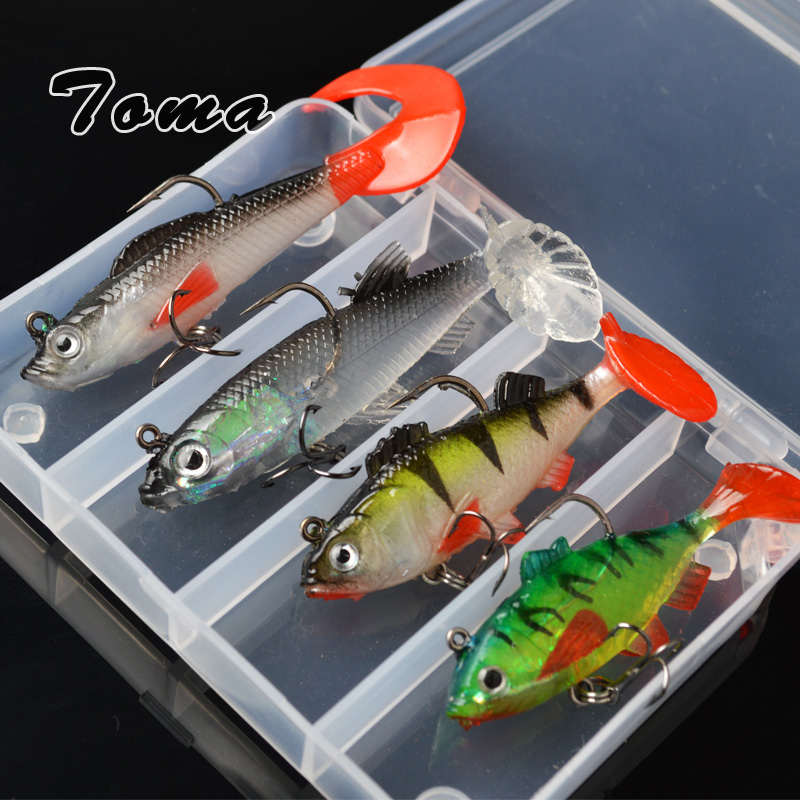 TOMA 4PCS Lead Head Fish Soft Lure Bait T Tail Fishing Lures 8g/9g/9.5g/13g Plastic Isca Artificial Treble Hook Fishing Tackle fishing lure kit single tail lead fish soft bait vib 33 pieces lures accessories pliers