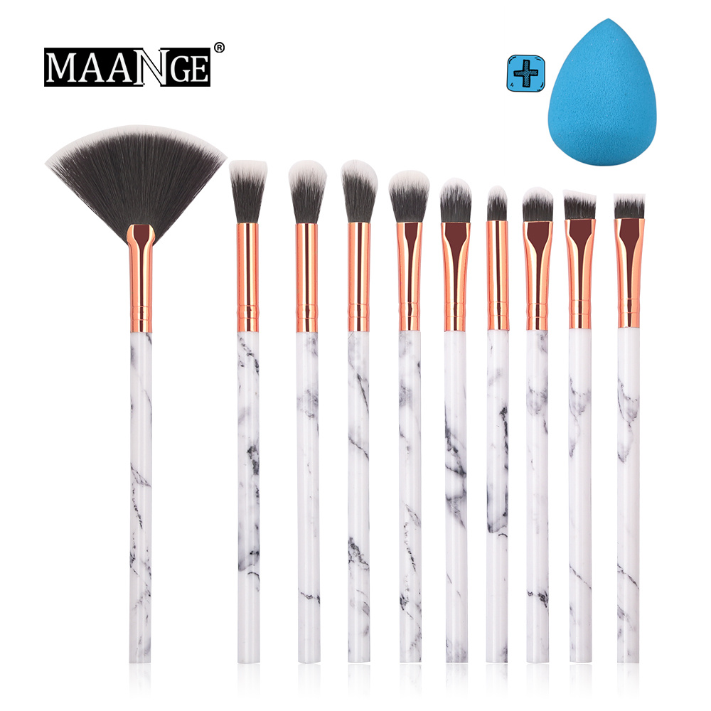 10Pcs/Set Professional Makeup Brushes Marbling Handle Eyeshadow Eyebrow Lip Powder Foundation Make Up Brush Cosmetic Random Puff