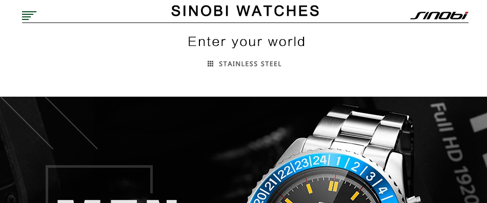 361faac1c55 SINOBI 2018 New Fashion Mens Watch Rotatable Bezel Full Steel Watch ...