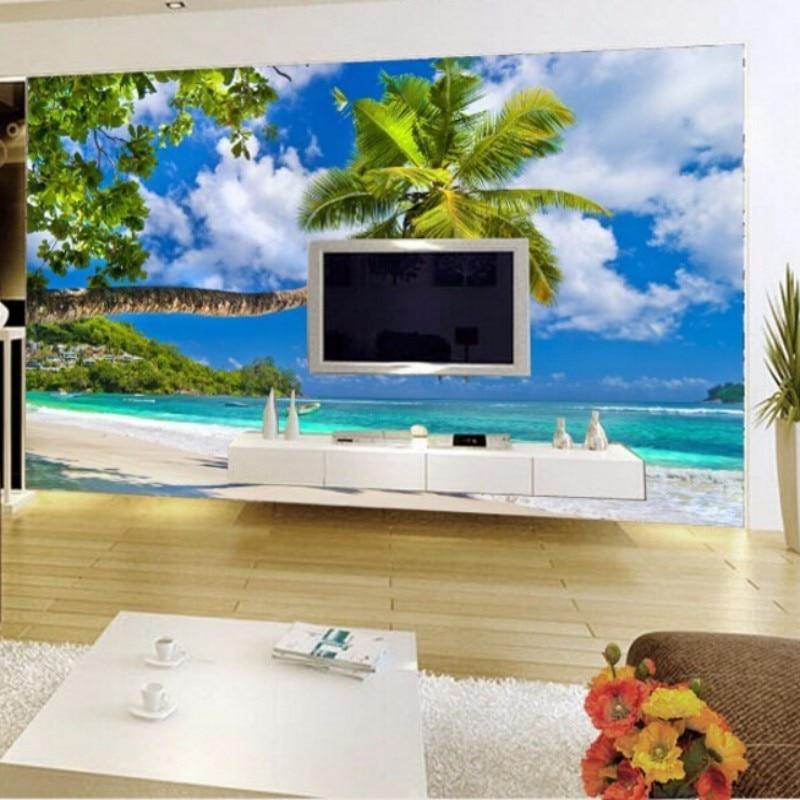 Beibehang Ocean Mural Wallpaper Living Room Sofa TV Background Wallpaper  Beach 3d Wall Murals Wallpaper For