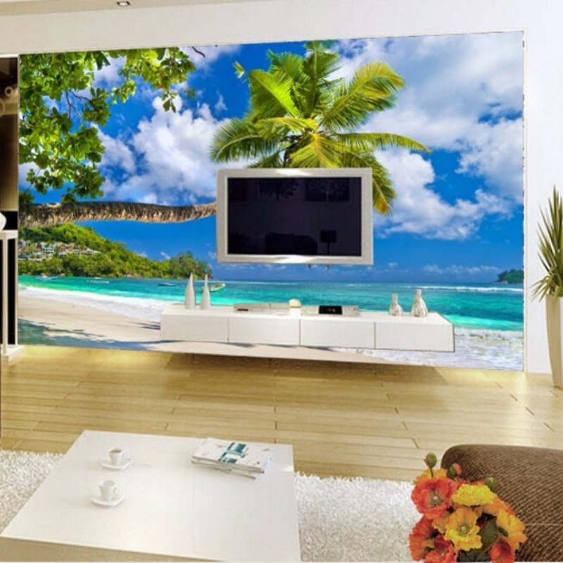 Beibehang ocean mural wallpaper living room sofa tv for Beach mural wallpaper