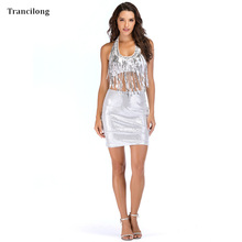 Trancilong Sexy Silver Bling Sequined Fringe Dress Bodycon Women Bandage Mesh V-neck Halter Fringe Party Birthday Two Piece Set fringe mesh teddy