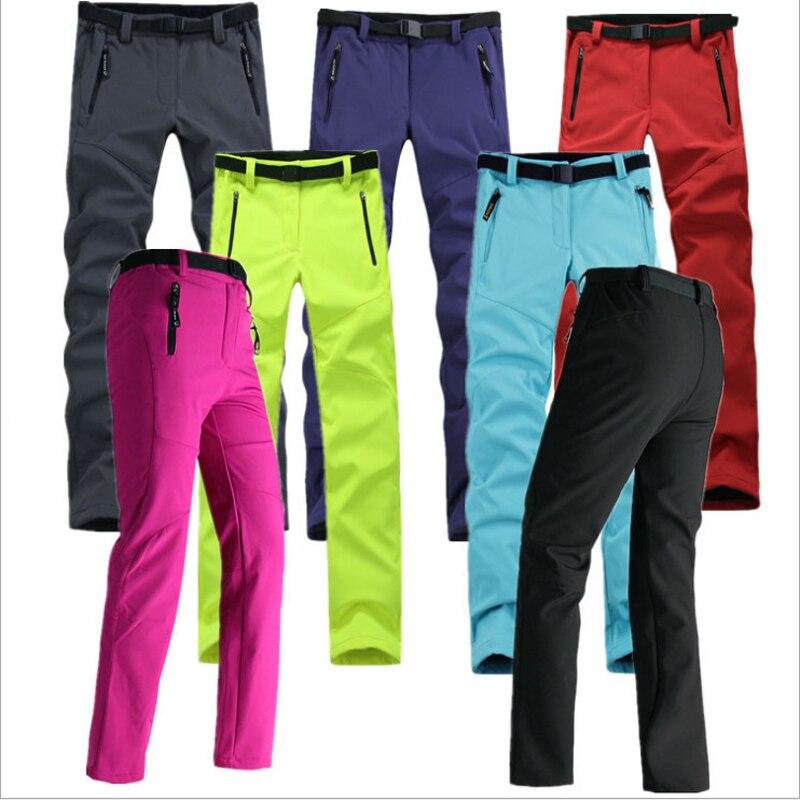 Mujeres grueso fleece cálido pantalones Softshell pesca camping senderismo pantalones de esquí impermeable a prueba de viento 2016 Nuevo pantolon RW041