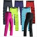 Mulheres Grosso de Lã Quente Calças Softshell Pesca Camping Caminhadas Esqui Calças Impermeáveis À Prova de Vento 2016 Nova Pantolon RW041
