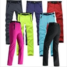 Mujeres Grueso Fleece Cálido Pantalones de Caparazón Blando de la Pesca Que Acampa Senderismo Pantalones de Esquí Impermeable A Prueba de Viento 2016 Nueva Pantolon RW041