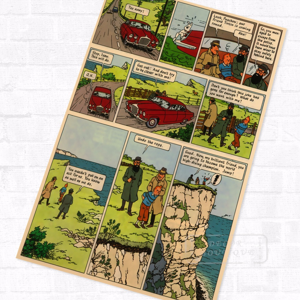 3 64 Hijacked Tintin Bande Dessinee Vintage Retro Kraft Enduit Affiche Decorative Bricolage Mur Toile Autocollant Maison Bar Art Affiches Decor
