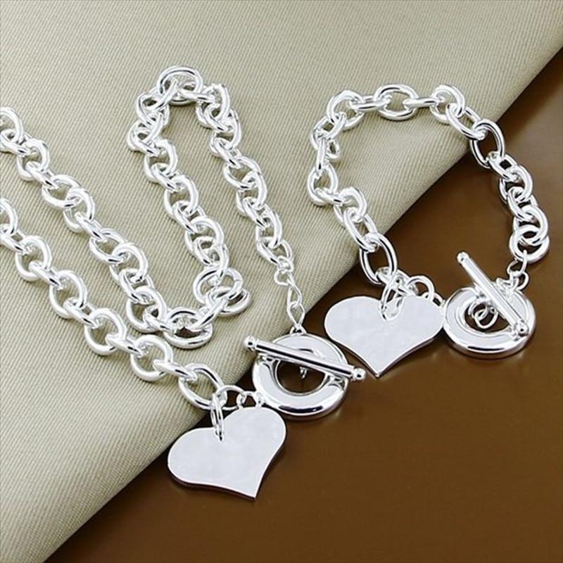 Visoka kvaliteta 925 srebra u obliku srca privjesak ogrlica narukvica - Modni nakit - Foto 2