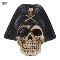 BUF Resin Craft Statues For Decoration Buccaneer Skull Head Creative Skull Figurines Sculpture Home Decoration Accessories