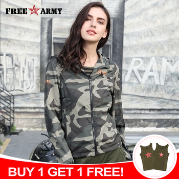 FreeArmy Brand Stylish Jacket Women Hooded Lightweight Jackets Female Camouflage For Lady Coat with Breath Hole Spring