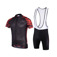 KEYIYUAN Men Cycling Jersey Short Sleeves T-Shirt + Riding Padded (Bib) Shorts