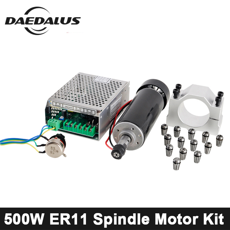 500 W Motor del huso del CNC ER11 refrigerado por aire del huso alimentación ajustable + 52mm abrazaderas + ER11 pinza chuck para la máquina de grabado