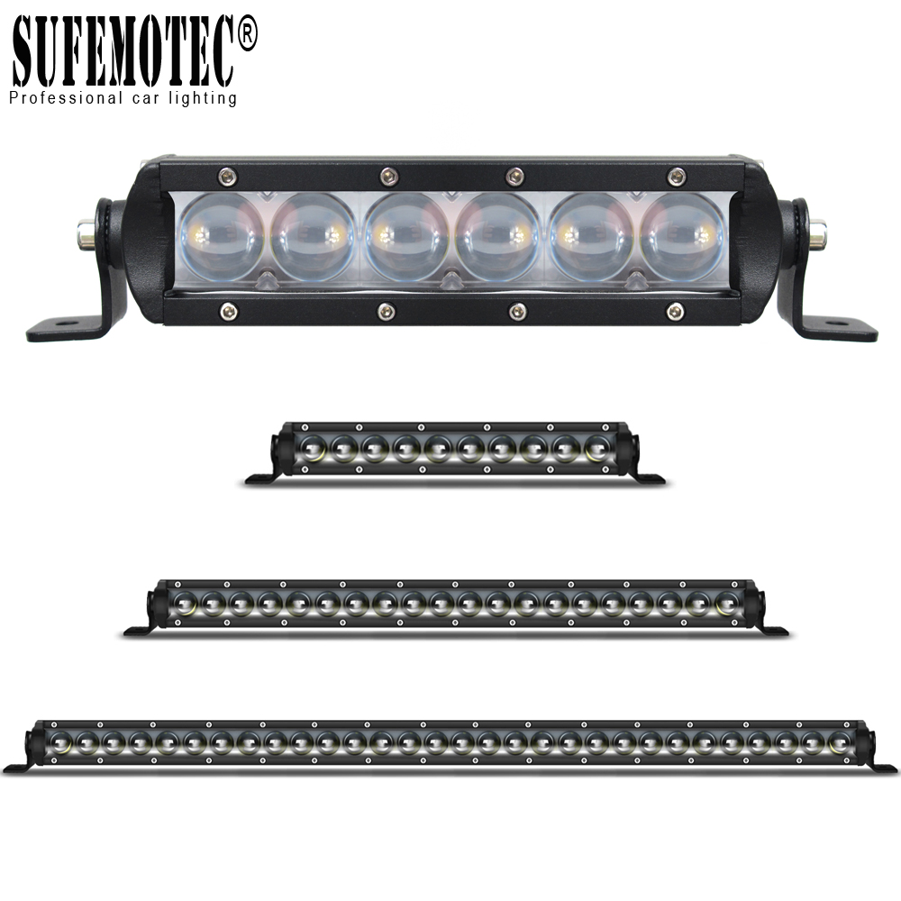 Single Row 4D Lens Led 4x4 Offroad Light Bar Super Slim For Car Off-road 4WD Truck ATV Sand Rails Wat Curved Driving Spot Lights