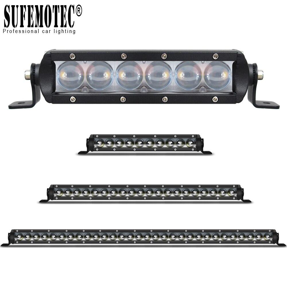 Single Row 4D Lens Led 4x4 Offroad Light Bar Super Slim For Car Off road 4WD Truck ATV Sand Rails Wat Curved Driving Spot Lights