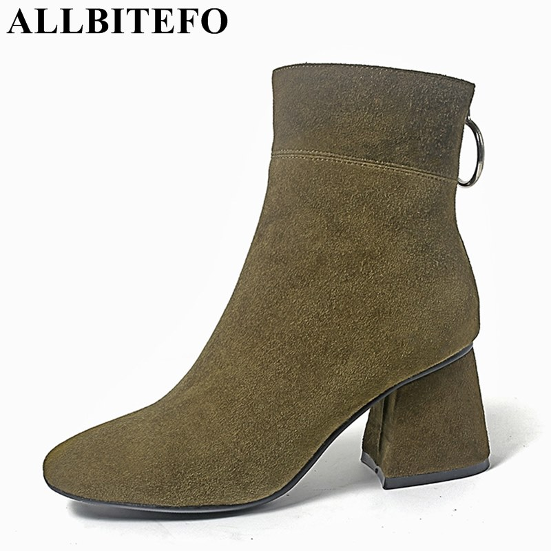 ALLBITEFO square toe Nubuck leather thick heel women boots brand metal charm medium heel martin boots girls boots bota de neve майка gap gap 15