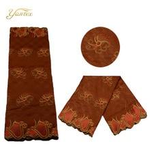 ФОТО yantex new fashion color nigeria embroidery lace fabric guinea brocade bazin riche fabric for women wedding dress 5 yards/lot