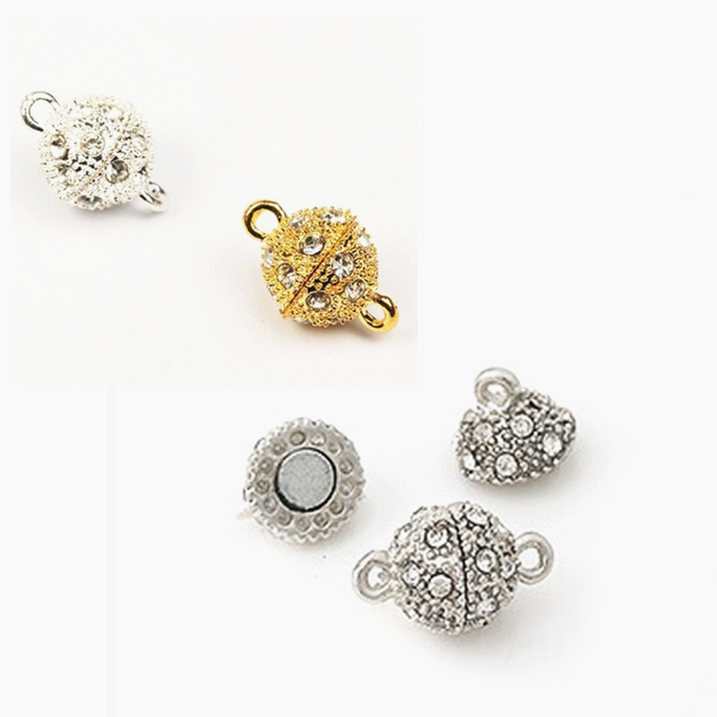 GHRQX 5pcs Gold/silver 10mm /8mm/   Round Shambhala  Magnetic Clasps Leather Cord   Jewelry Findings Fitting Jewelry Findings
