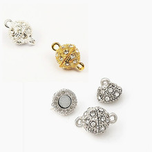 GHRQX Hot Sell 5pcs gold/silver 10mm  Round Shambhala  Magnetic Clasps leather cord   Jewelry Findings fitting Jewelry Findings