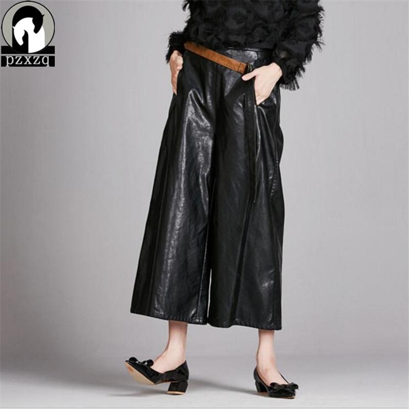 Outono inverno 2016 das Mulheres Harem Pants calça Casual Solto couro PU  Bolsos Sólidos Cintura Elástica Calças Perna Larga casuais preto Mais  tamanho 383c26f44acf9