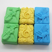 Square music Pattern Soap Molding Silicone Mold DIY Bath Salt Carving Molds handmade Craft mould