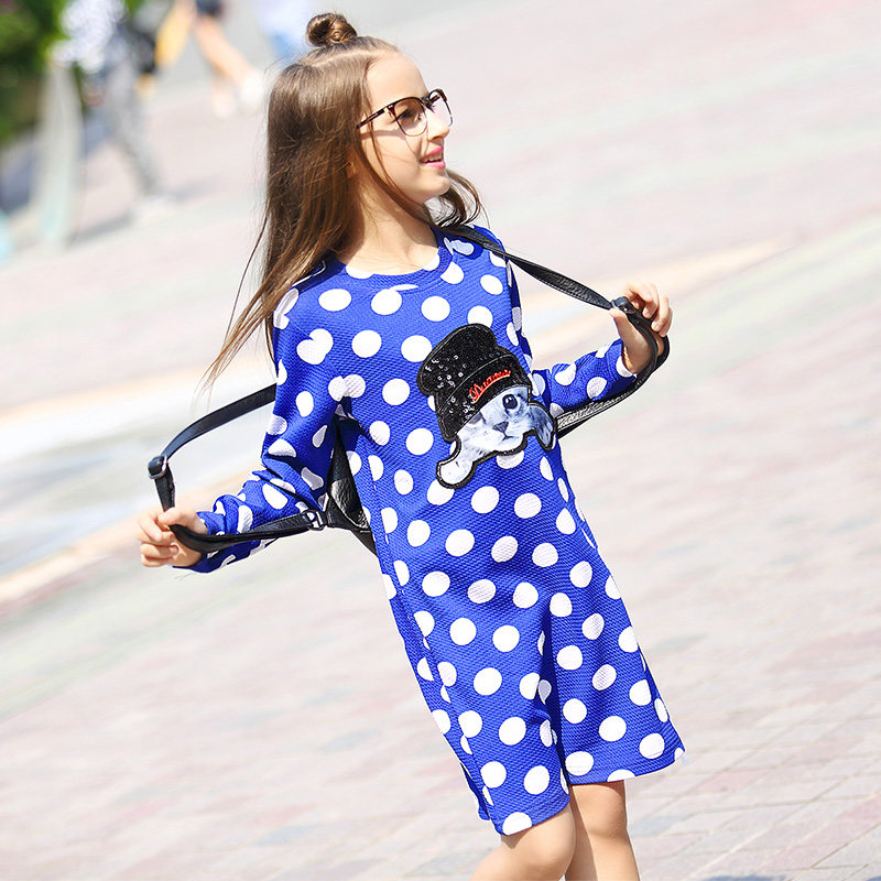 2016 Autumn Fall Teen Girls Polka Dot Dress Blue Black Cute Cat Cartoon Characters Frocks for Age56789 10 11 12 13 14T Years Old 2018 princess girls polka dot dress red ruffled layers design sweet country style smocked for age56789 10 11 12 13 14 years old