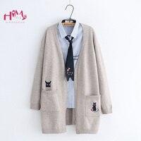 Autumn Women's Sweater Knitwear Jackets Mori Girl Cute Cat Long Sleeve Coat Japanese Korea Teens Girls Sweet Sweater Cardigans