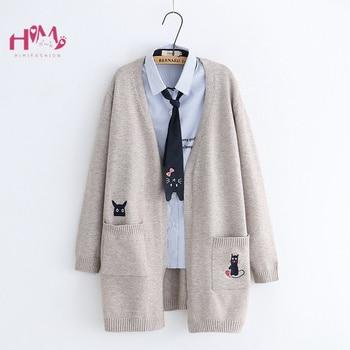 6b49c74ecc07 Otoño mujer suéter Chaquetas de punto Mori chica lindo gato de manga larga  abrigo japonés Corea adolescentes niñas dulce suéter Cardigans