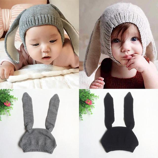 Bébé Chapeaux Avec Oreilles Bébé Enfant Enfants Garçon Fille Tricoté  Crochet Oreille de lapin Bonnet D 7aa7808aae4